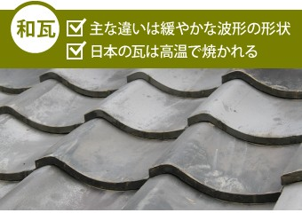 和瓦の主な違いは緩やかな波形の形状・日本の瓦は高温で焼かれる