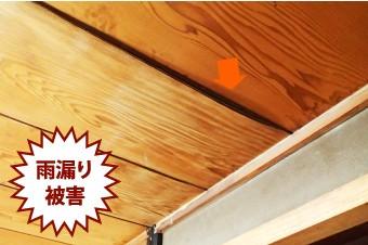 雨樋の不具合で生じた屋内における雨漏り被害