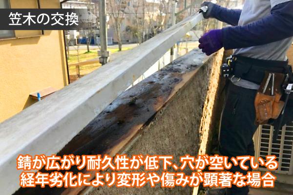 錆が広がり耐久性が低下、穴が空いている経年劣化により変形や傷みが顕著な場合