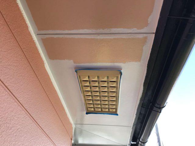 コロニアル屋根 軒天塗装