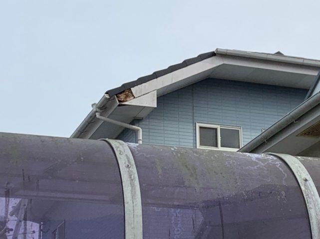 宮崎市大塚町にて台風で破風板が飛んだとの問合わせを頂き、伺いしました。