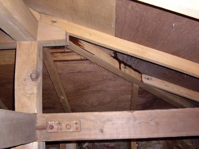 屋根からの雨漏れ 屋根裏の様子