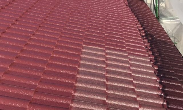 【宮崎県宮崎市】清武町加納甲にあるモニエル瓦の住宅で屋根塗装をしていきます屋根中塗り_1_確定