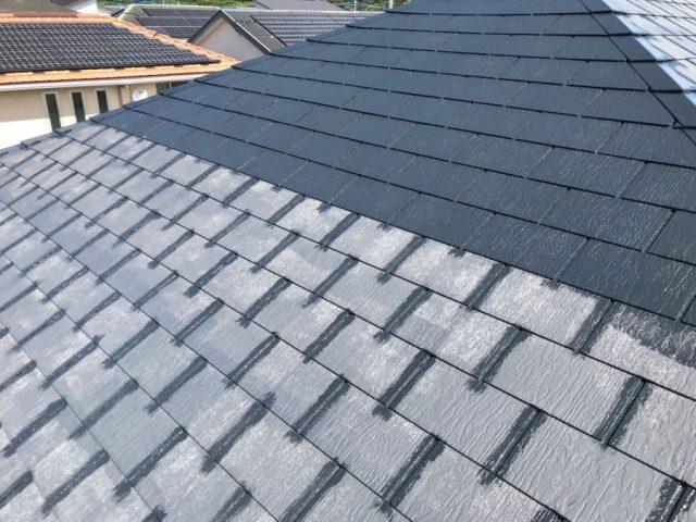 【宮崎県宮崎市】清武町池田台にある58坪の住宅でコロニアルの屋根と雨樋・軒天を塗装します!
