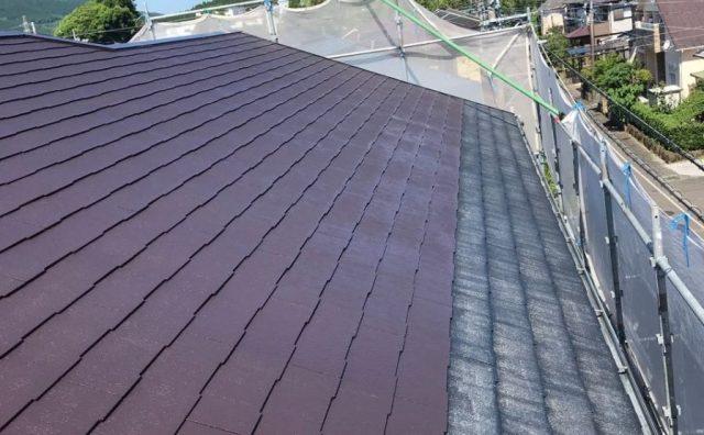 【宮崎県宮崎市】清武町にある41坪の住宅で屋根をセミフロンルーフ(コーヒーブラウン)で塗装していきます!屋根中塗り_1_確定