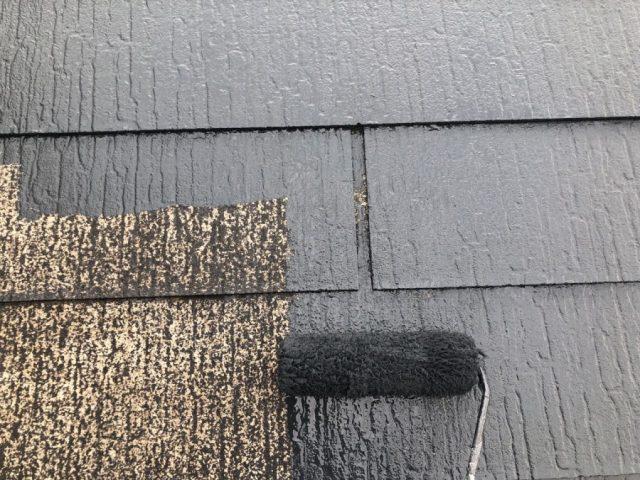 【宮崎県宮崎市】佐土原町においてFRP防水バルコニーがある住宅でコロニアル屋根を塗装しました!屋根中塗り_1_確定