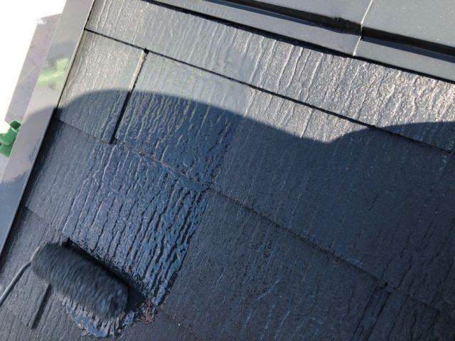 【宮崎県宮崎市】佐土原町においてFRP防水バルコニーがある住宅でコロニアル屋根を塗装しました!屋根上塗り_1_確定